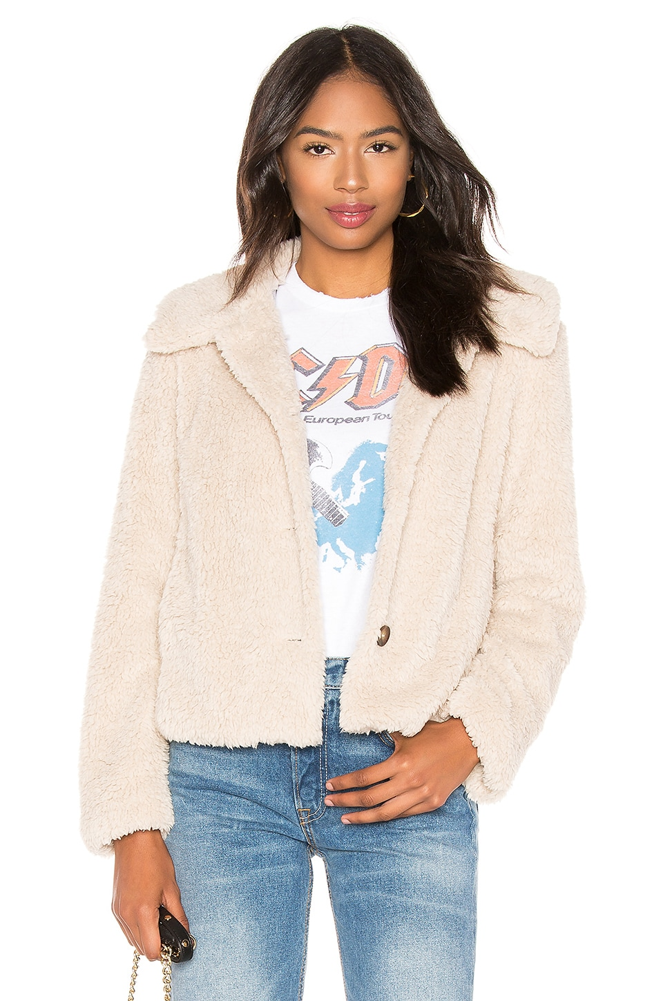Sanctuary I Feel Luv Faux Sherpa Jacket in Champagne