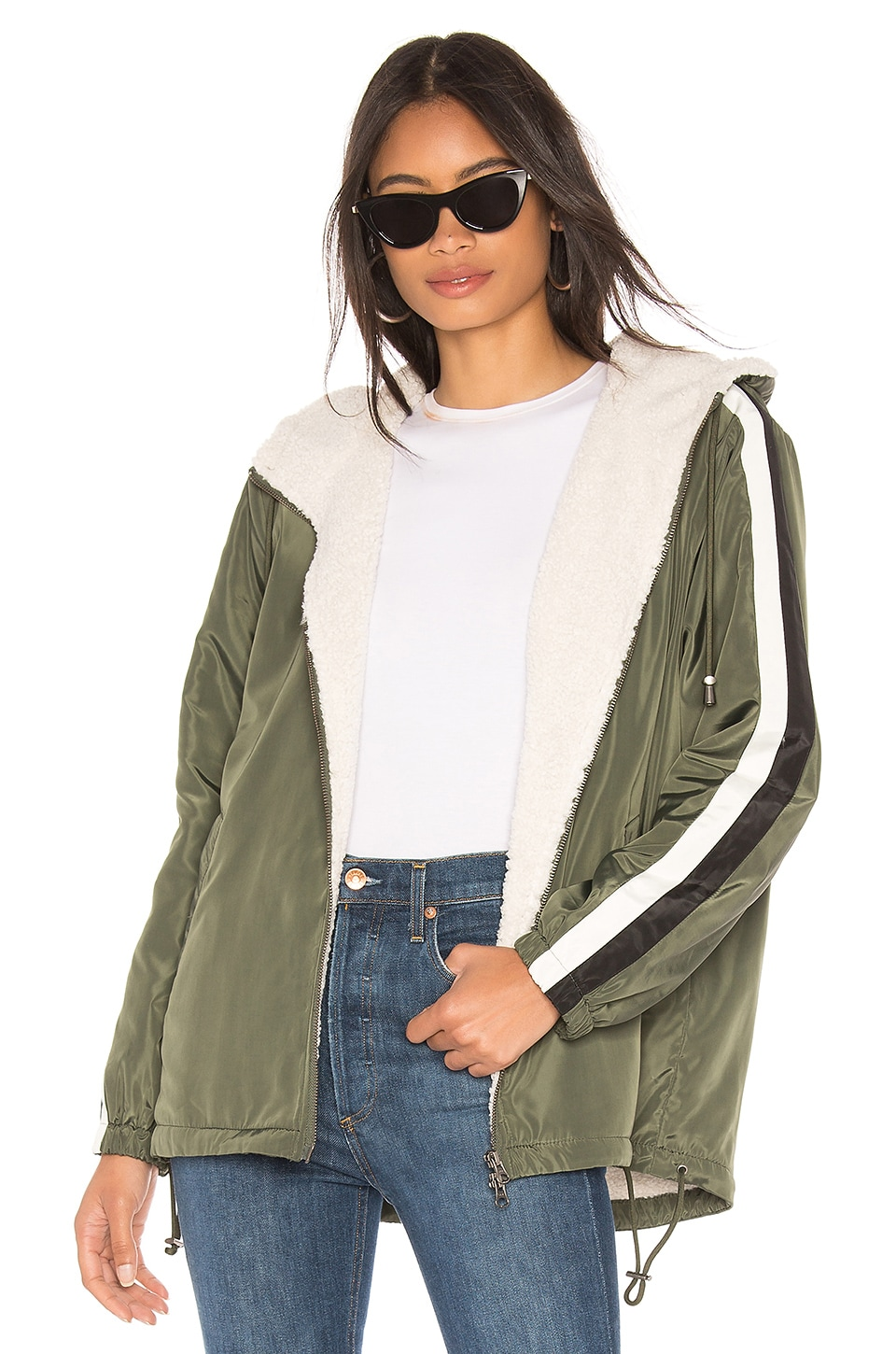 Sanctuary Sport Mini Parka With Faux Fur Lining in Peace Green