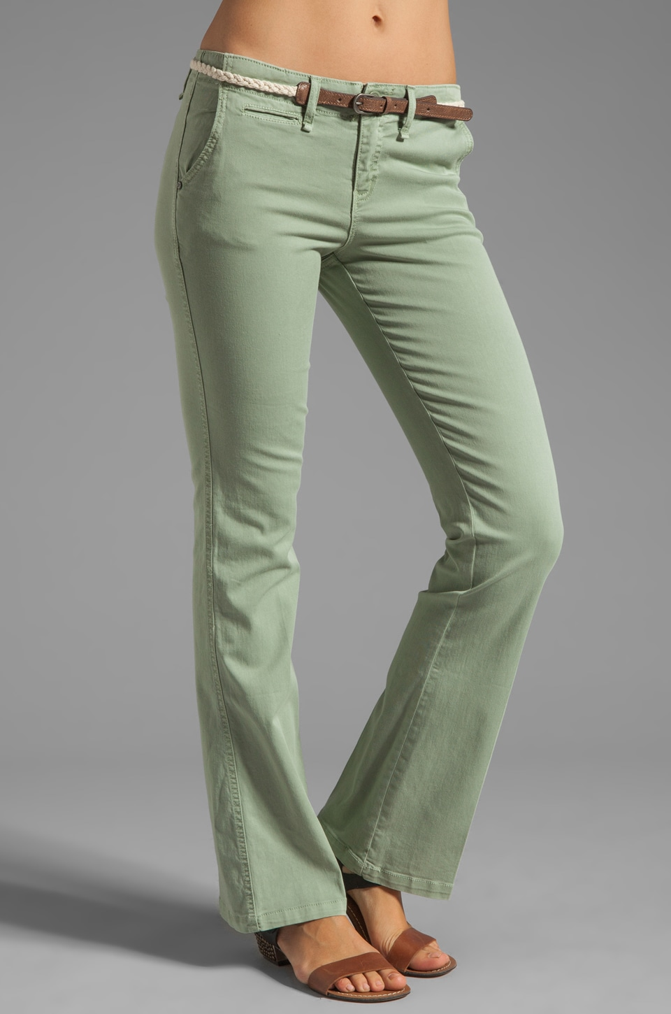 Sanctuary Liberty Chino Trouser with Belt in Weed