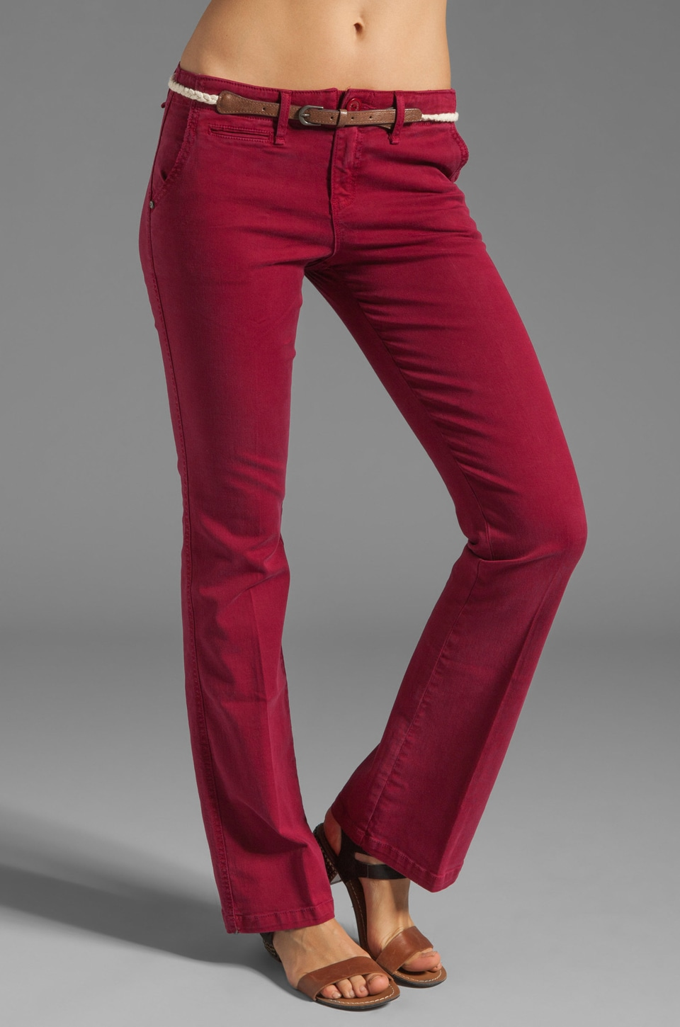 Sanctuary Liberty Chino Trouser with Belt in Burgundy