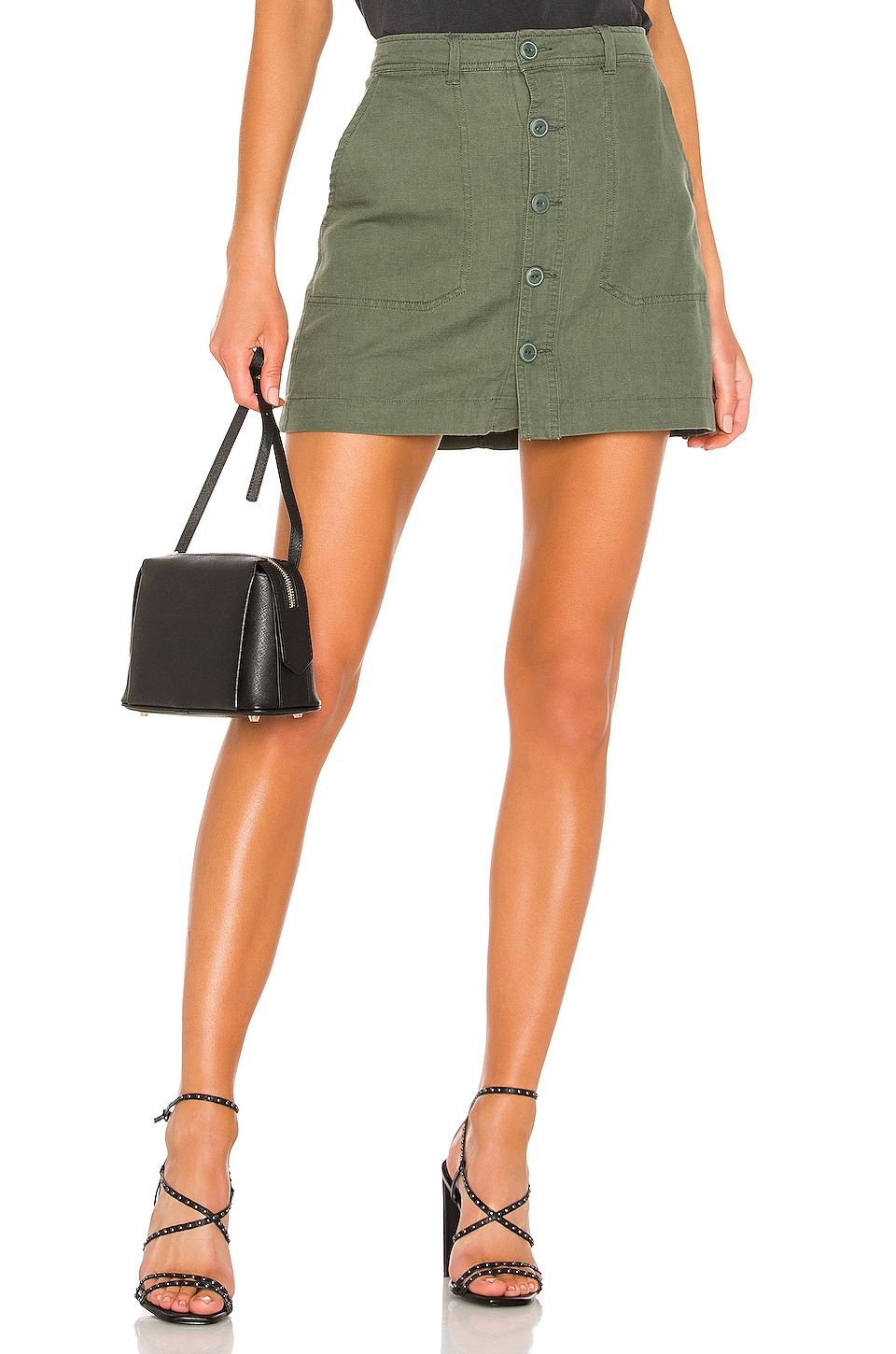 Sanctuary Venture Surplus Button Front Skirt in Washed Peace Green