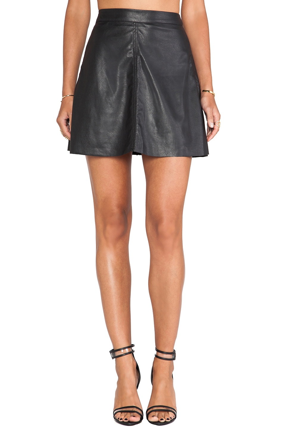 Sanctuary Vegan Leather Fluted Skirt in Black