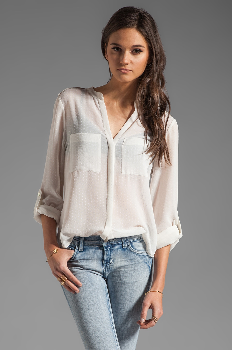 Sanctuary Delicate Cafe Blouse in Ivory