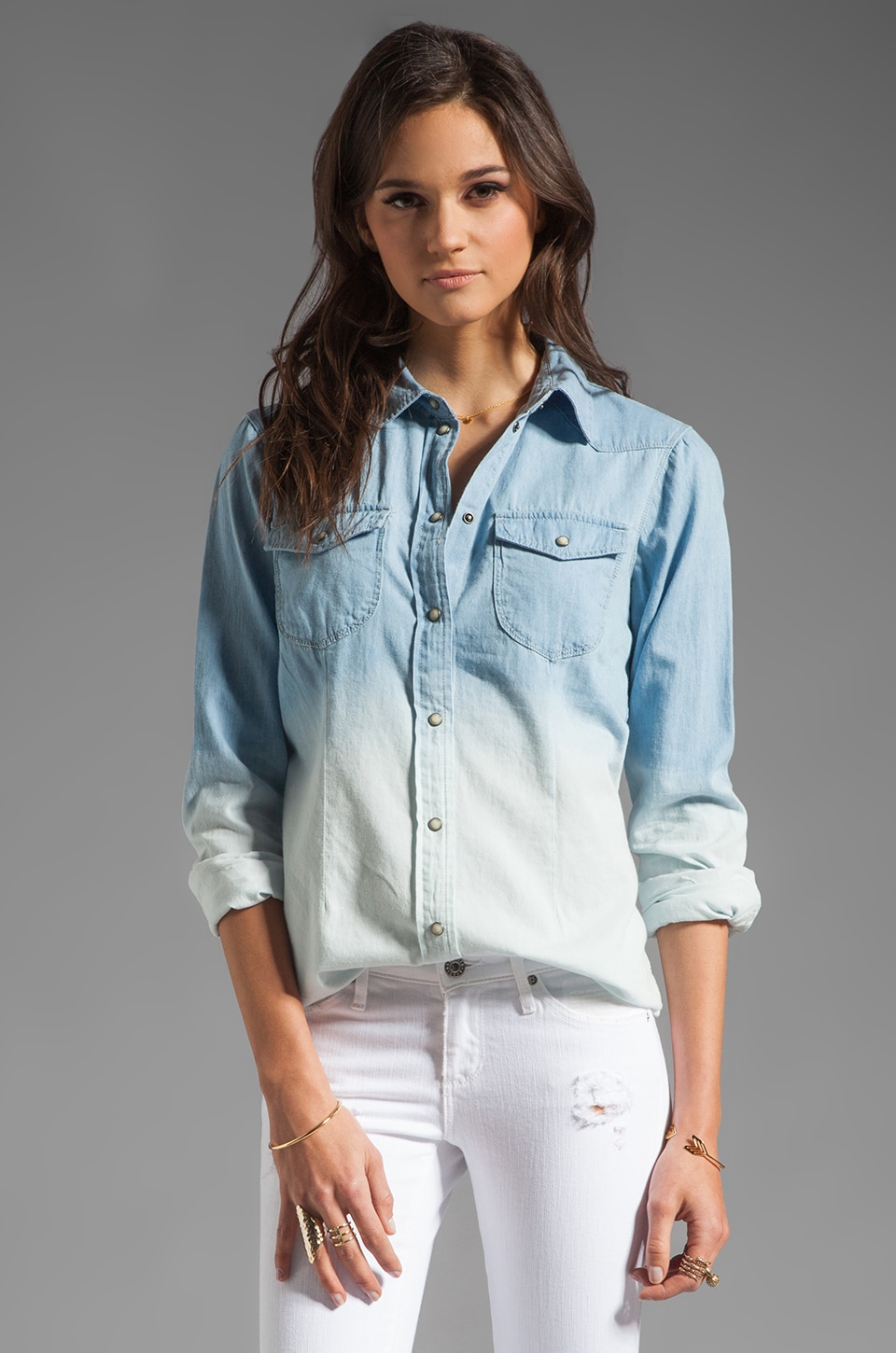 Sanctuary Southern Rock Shirt in Dip Dye Prairie