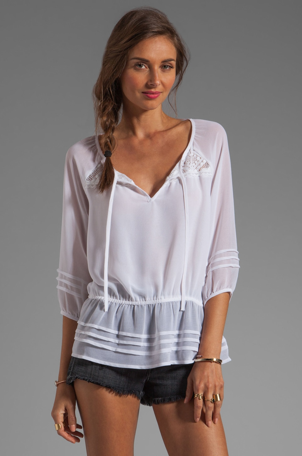 Sanctuary Peplum Blouse in White