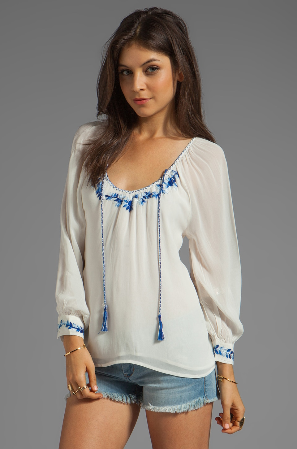 Sanctuary Provence Blues Embroidered Gypsy Top in White