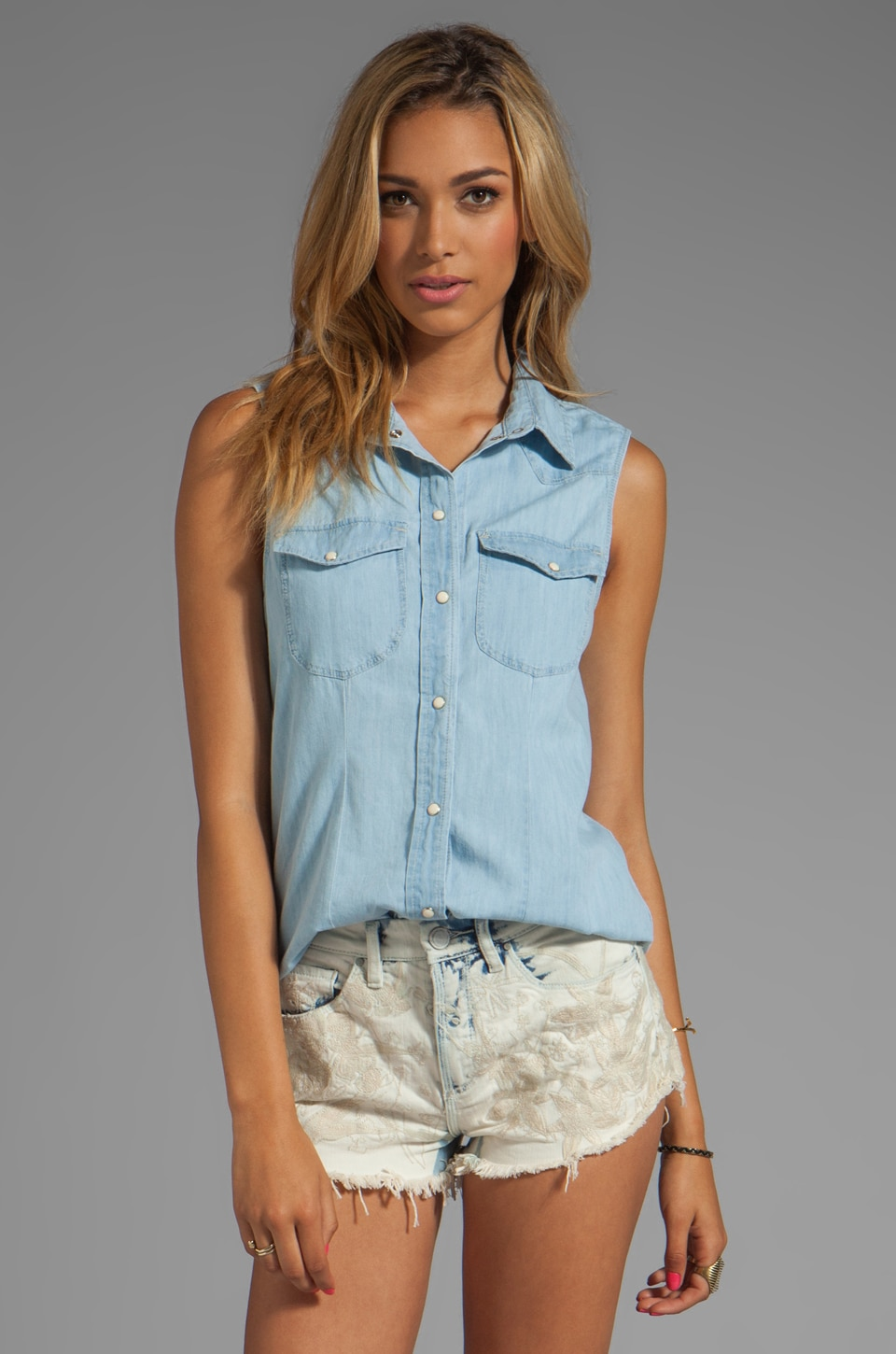 Sanctuary Provence Blues Sleeveless Shirt in Chambray