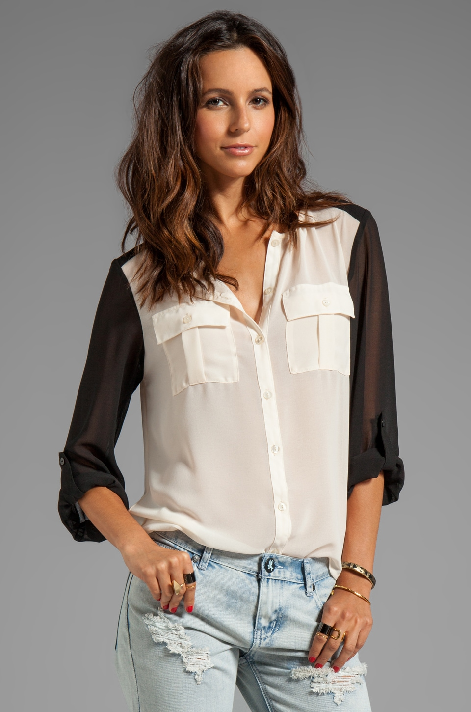 Sanctuary Modern Nomad Color Block Blouse in Ivory/Black