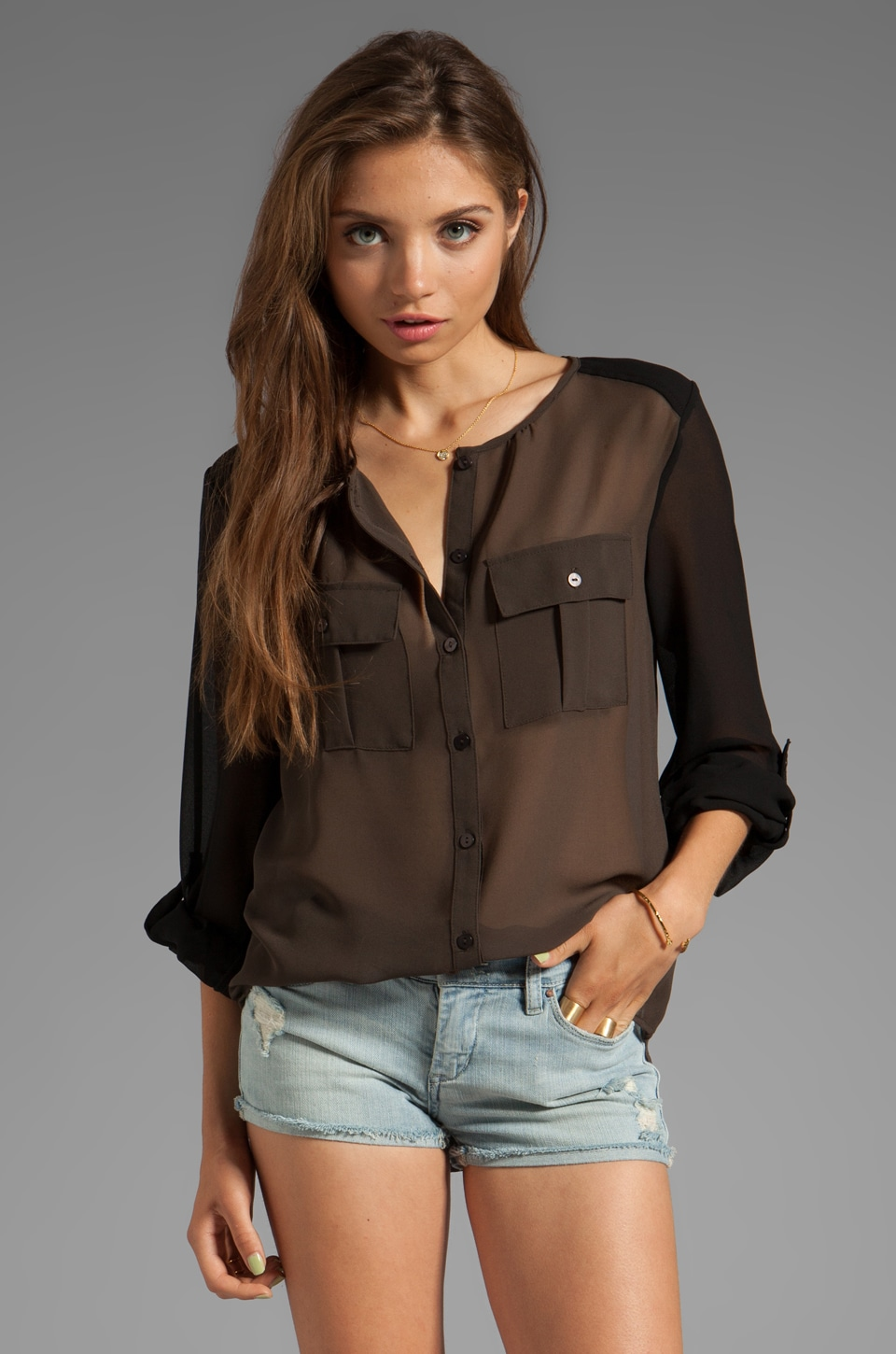 Sanctuary Soft Wovens Color Block Blouse in Olive