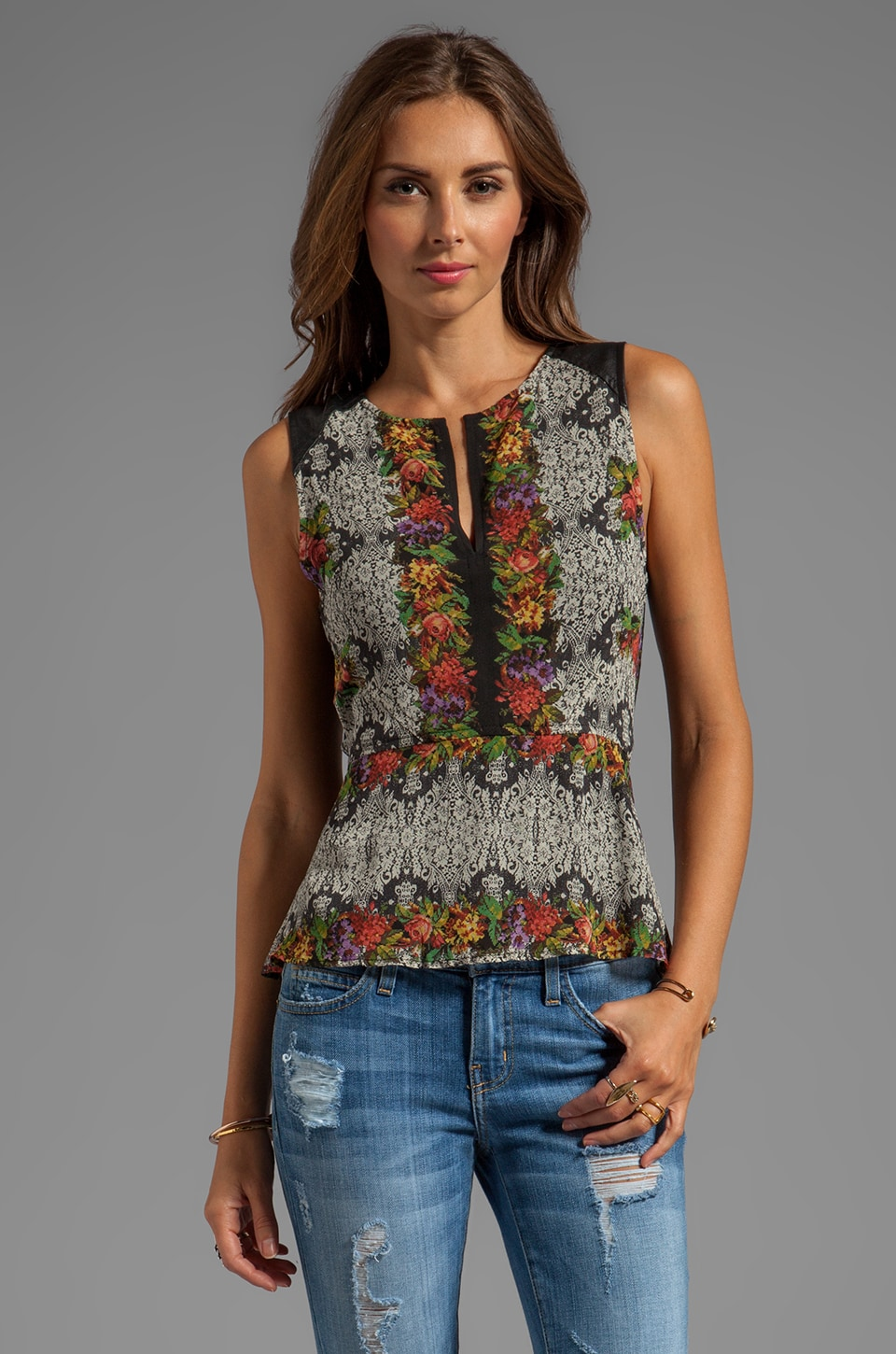 Sanctuary Soft Wovens Tapestry Peplum in Needlepoint Floral