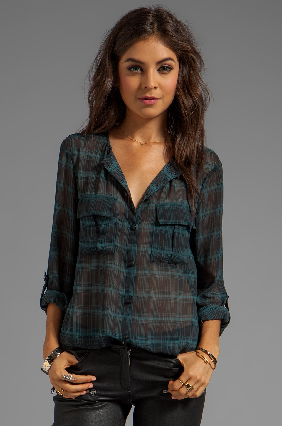 Sanctuary Soft Wovens Plaid Cafe Blouse in Teal Plaid