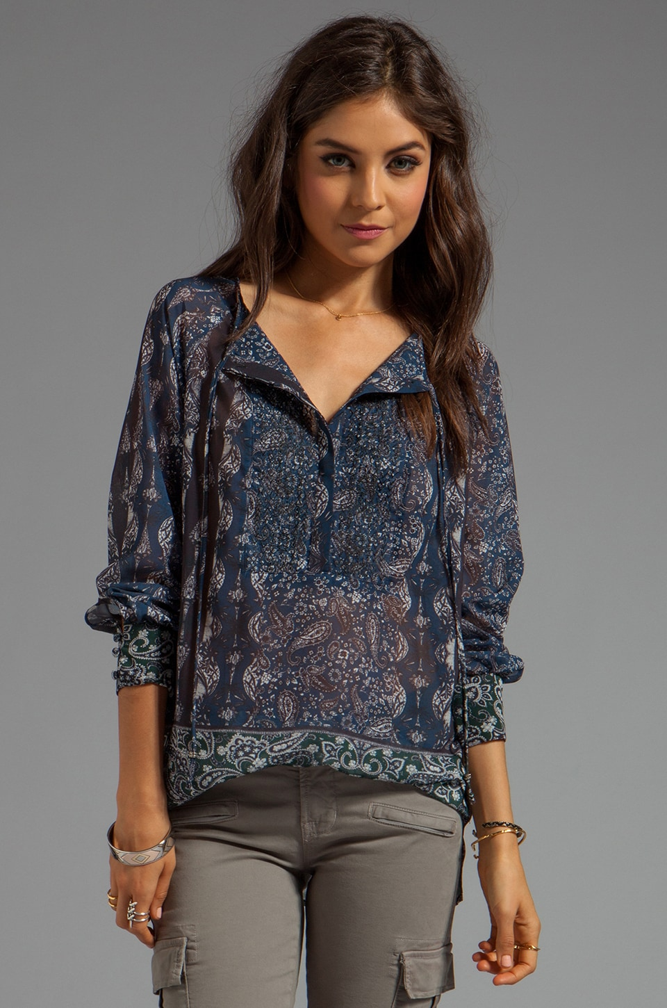 Sanctuary Soft Wovens Embroidery Tunic in Blue Paisley