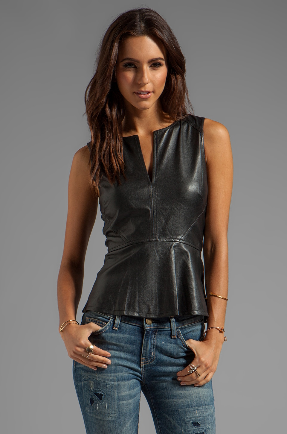 Sanctuary Vegan Leather Peplum Top in Black