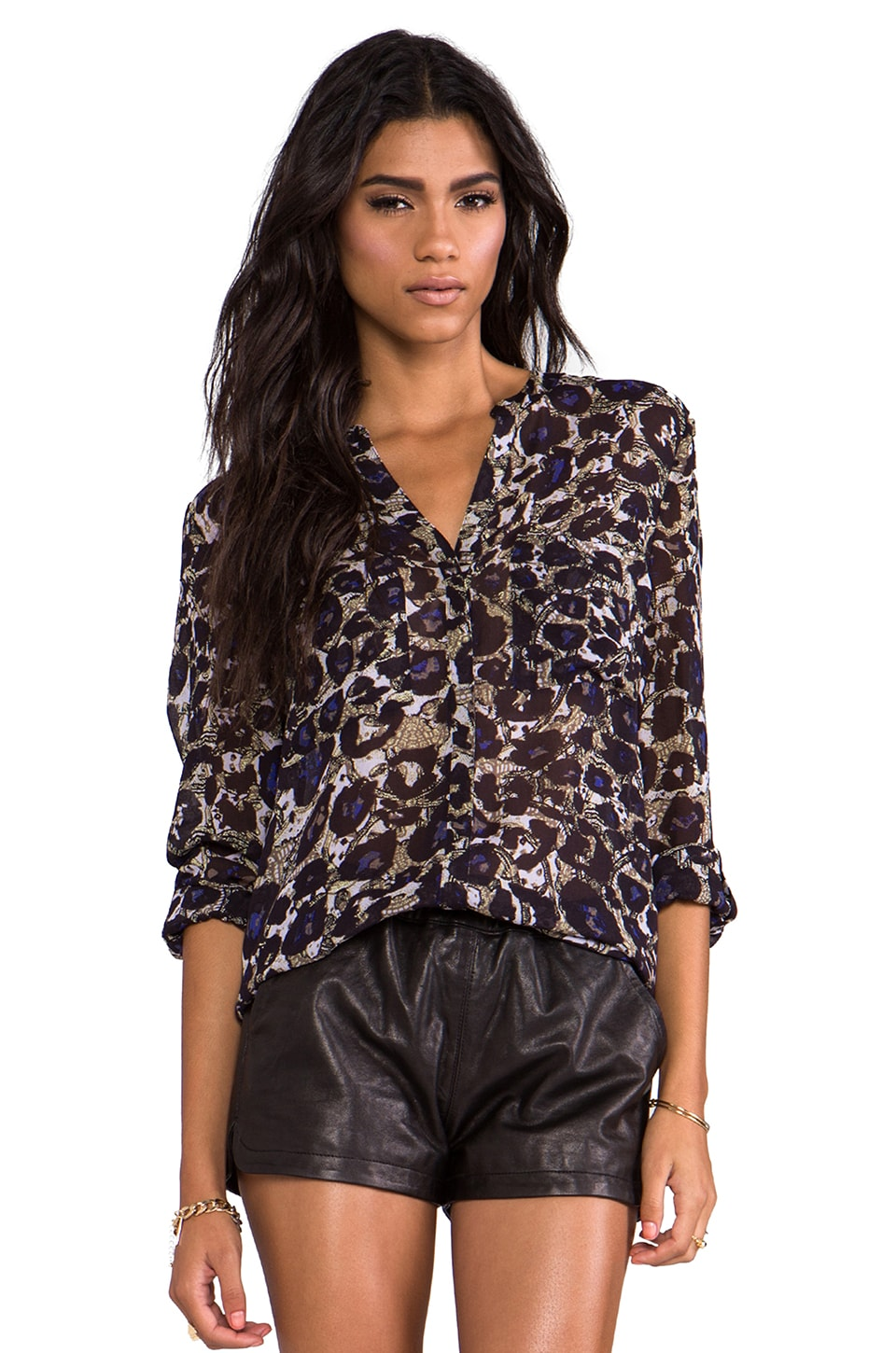Sanctuary Cafe Top in Leopard Lace