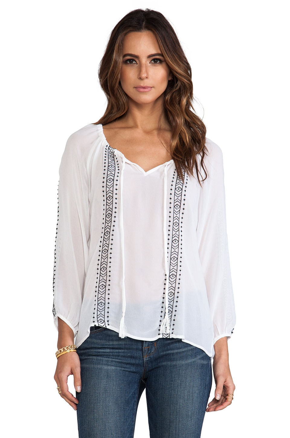 Sanctuary Embroidered Boho Blouse in White