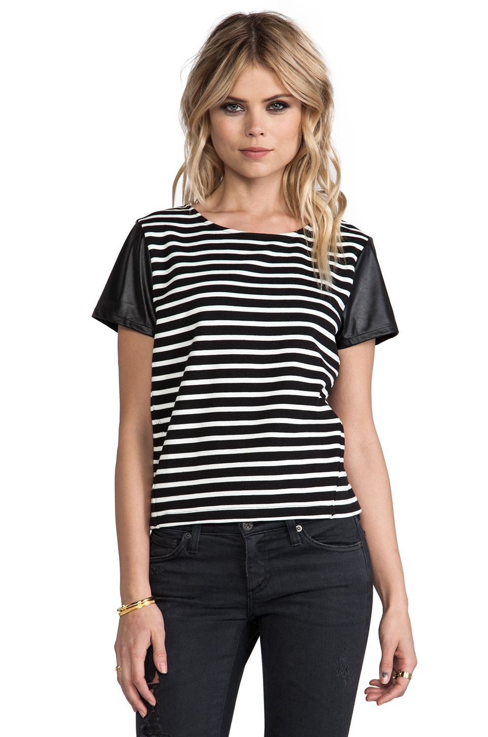 Sanctuary Striped Sport Tee in Ivory Multi
