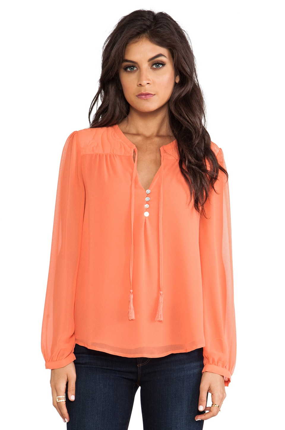 Sanctuary Femme Boho Blouse in Papaya