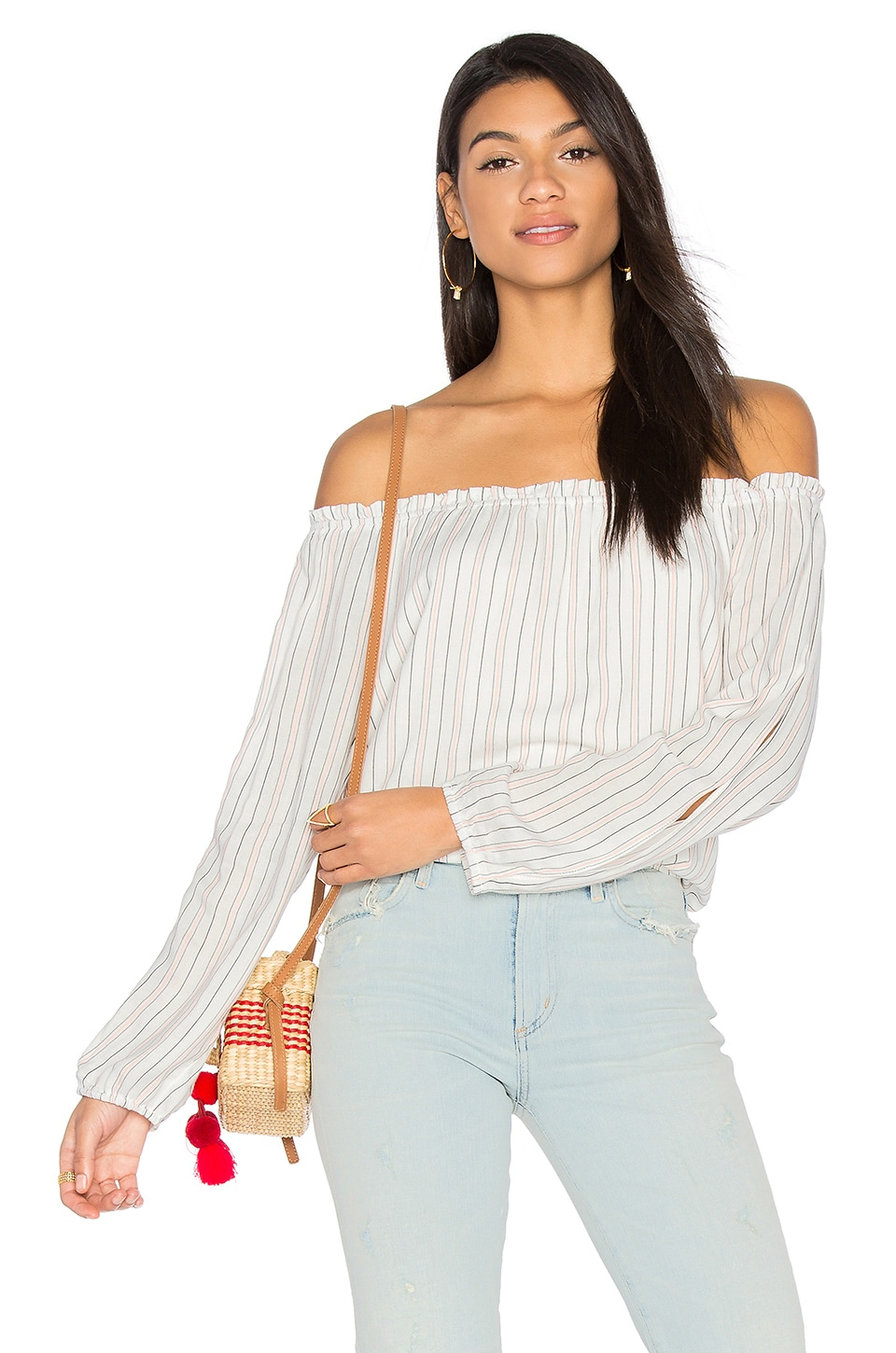 Sanctuary Chantel Off Shoulder Top in Ainsley Stripe