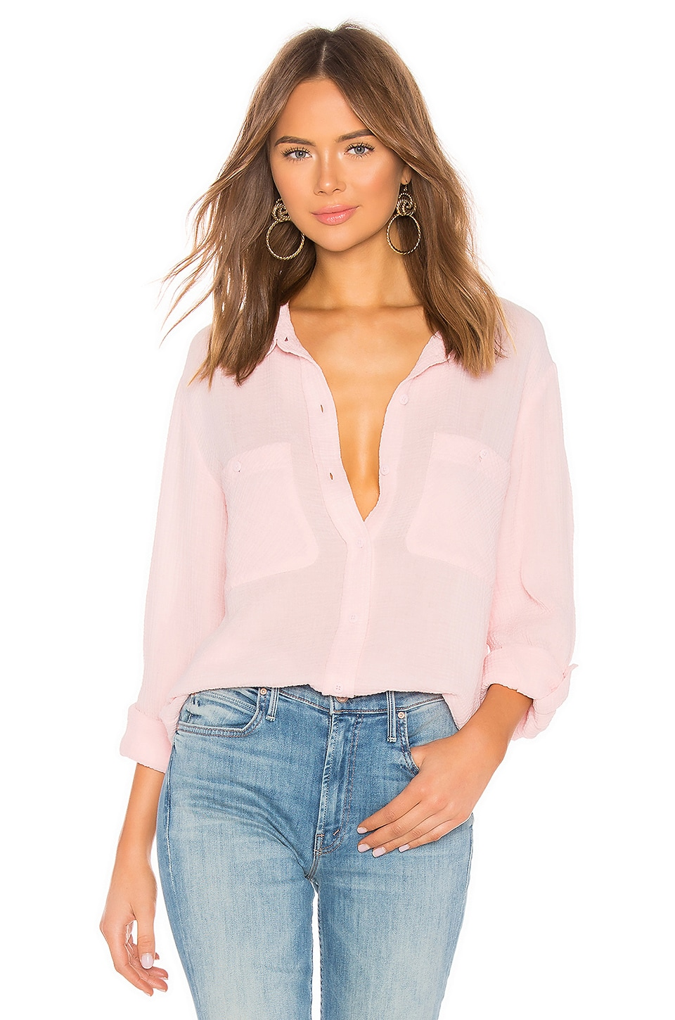 Sanctuary T-shirts SANCTUARY STEADY BOYFRIEND SHIRT IN PINK.