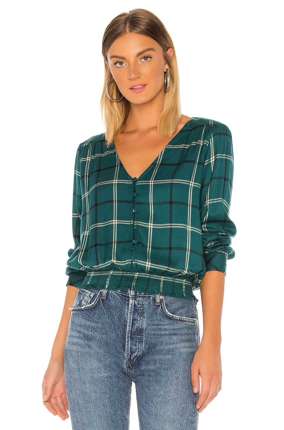 Sanctuary Fool For You Smocked Top en Mineral Plaid