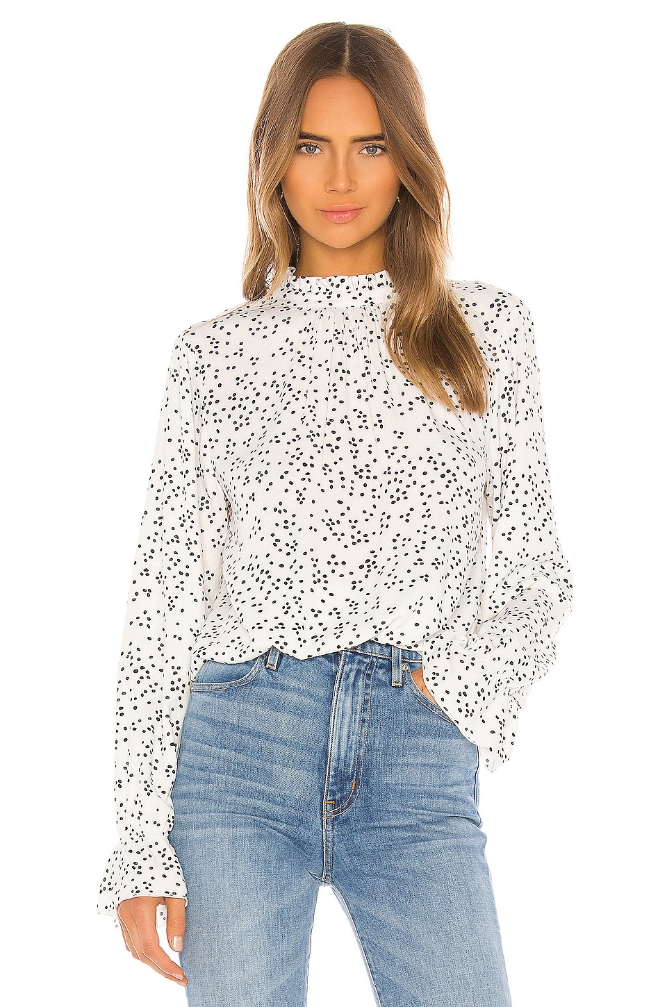 Sanctuary Solstice Mock Neck Blouse en Confetti Dot