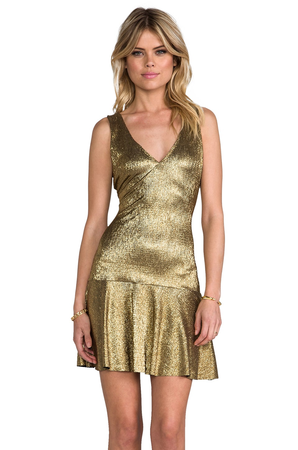 SAM&LAVI Lesa Dress in Metallic Gold Knit