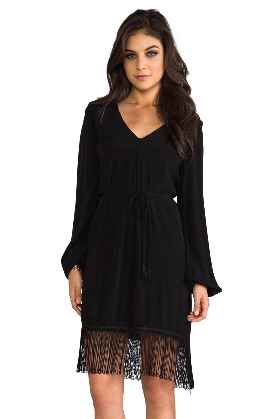 SAM&LAVI Aria Tassel Dress in Black