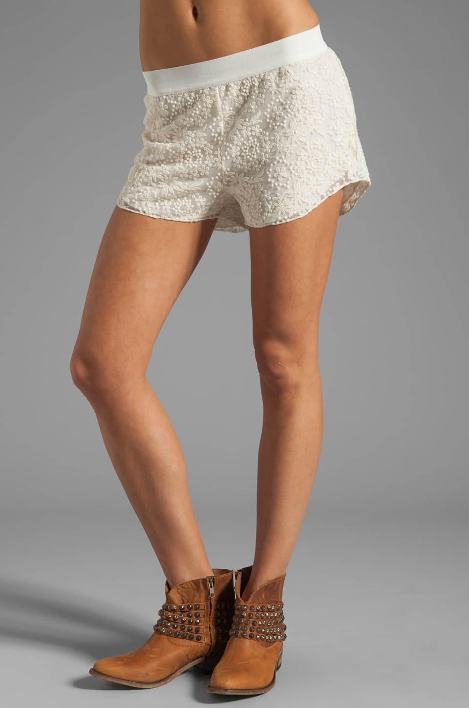 SAM&LAVI Blanche Lace Shorts in Off White