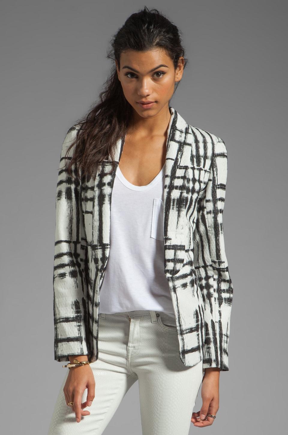 SAM&LAVI Thorne Blazer in Techno Plaid