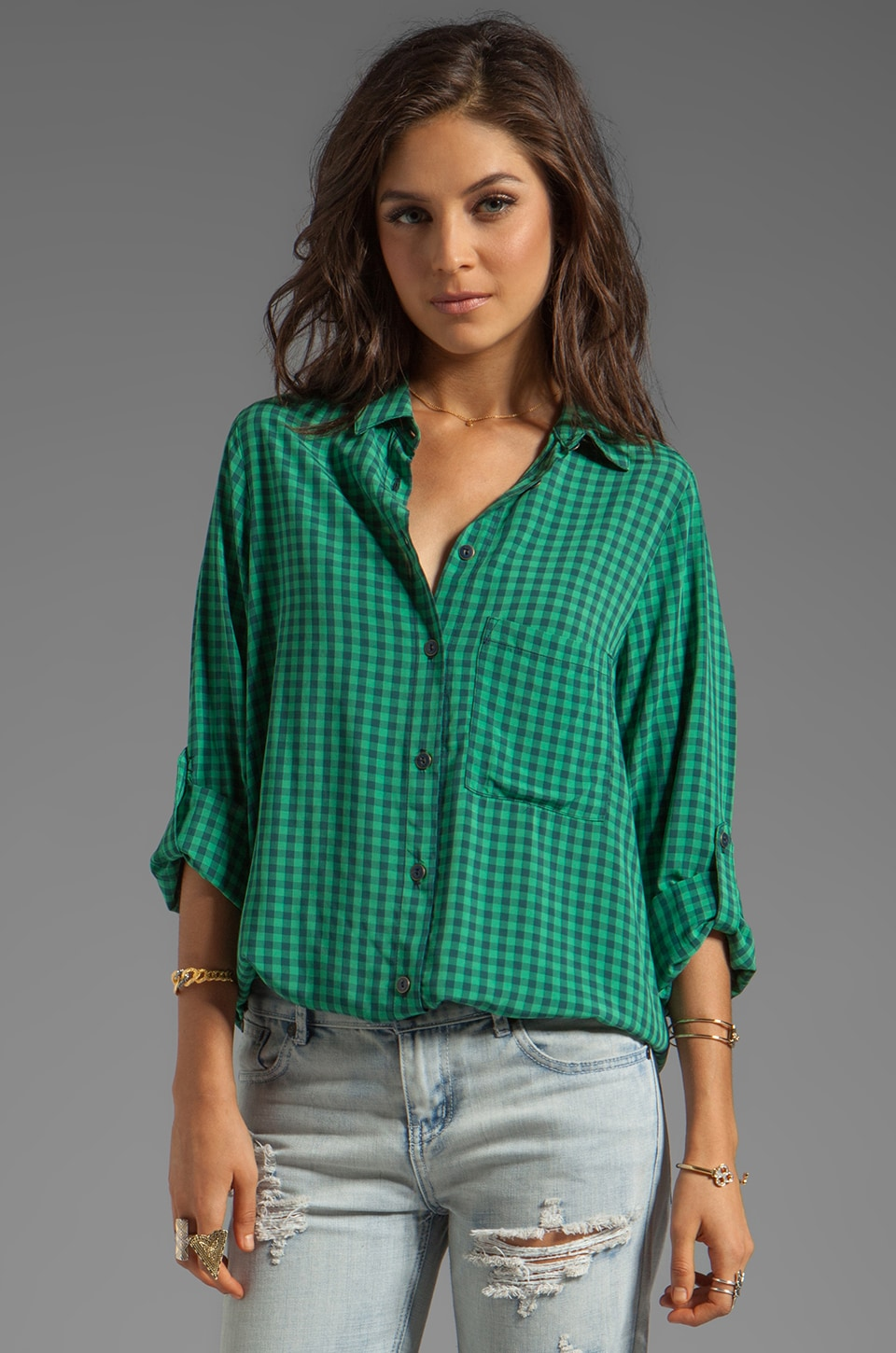 SAM&LAVI Eve Bibi Check Top in Green Combo