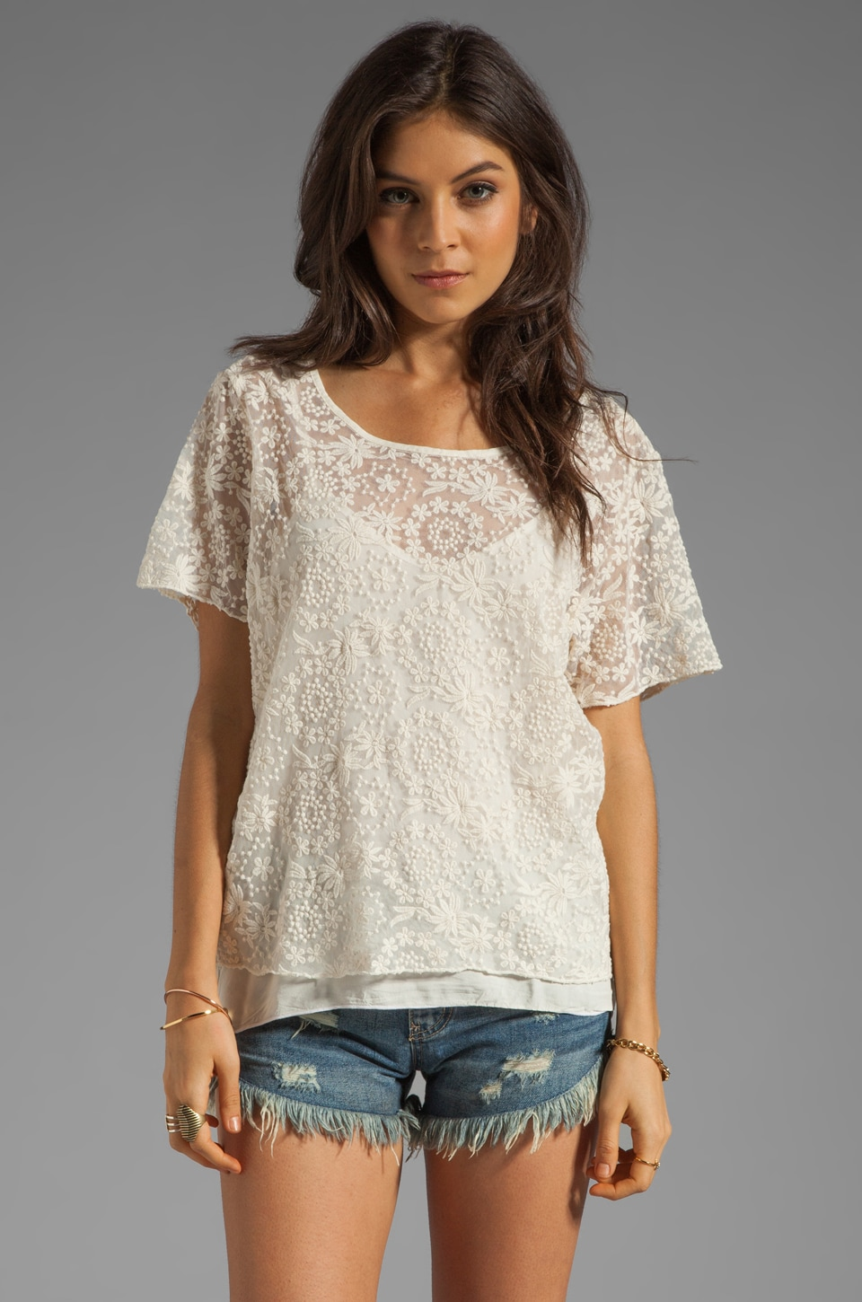 SAM&LAVI Chanel Lace Top in Off White