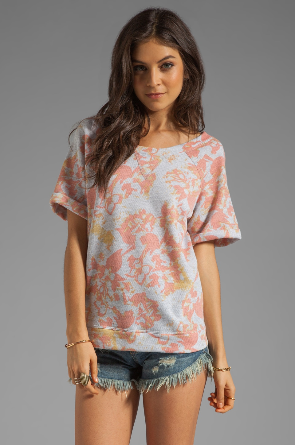 SAM&LAVI Violet Short Sleeve Top in Flora Irish Terry