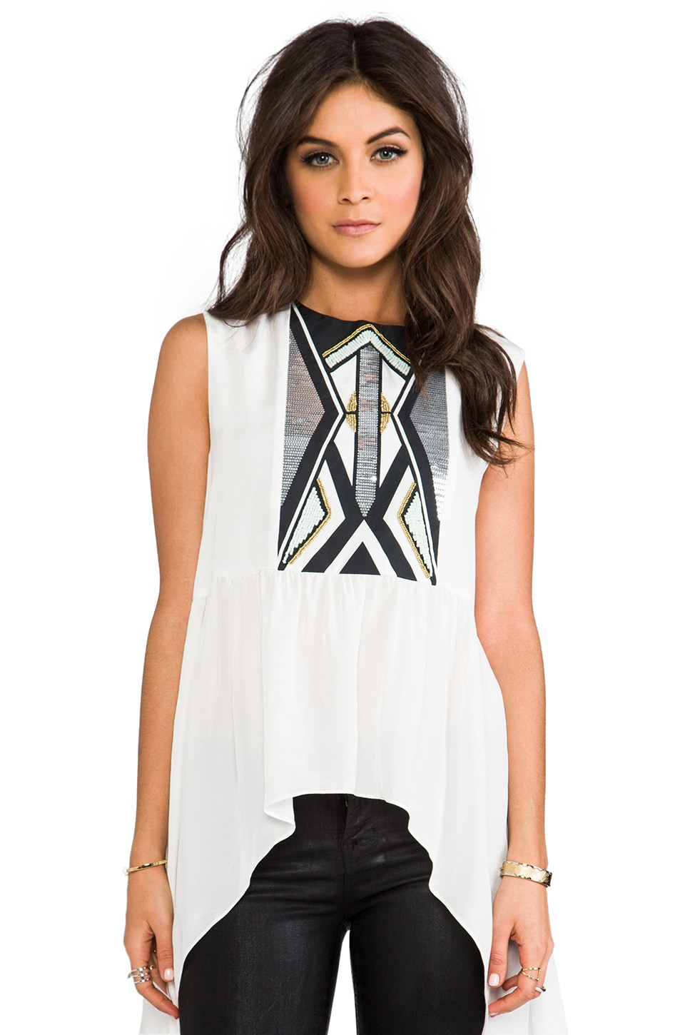 Sass & Bide Mind Your Language Tank in Ivory