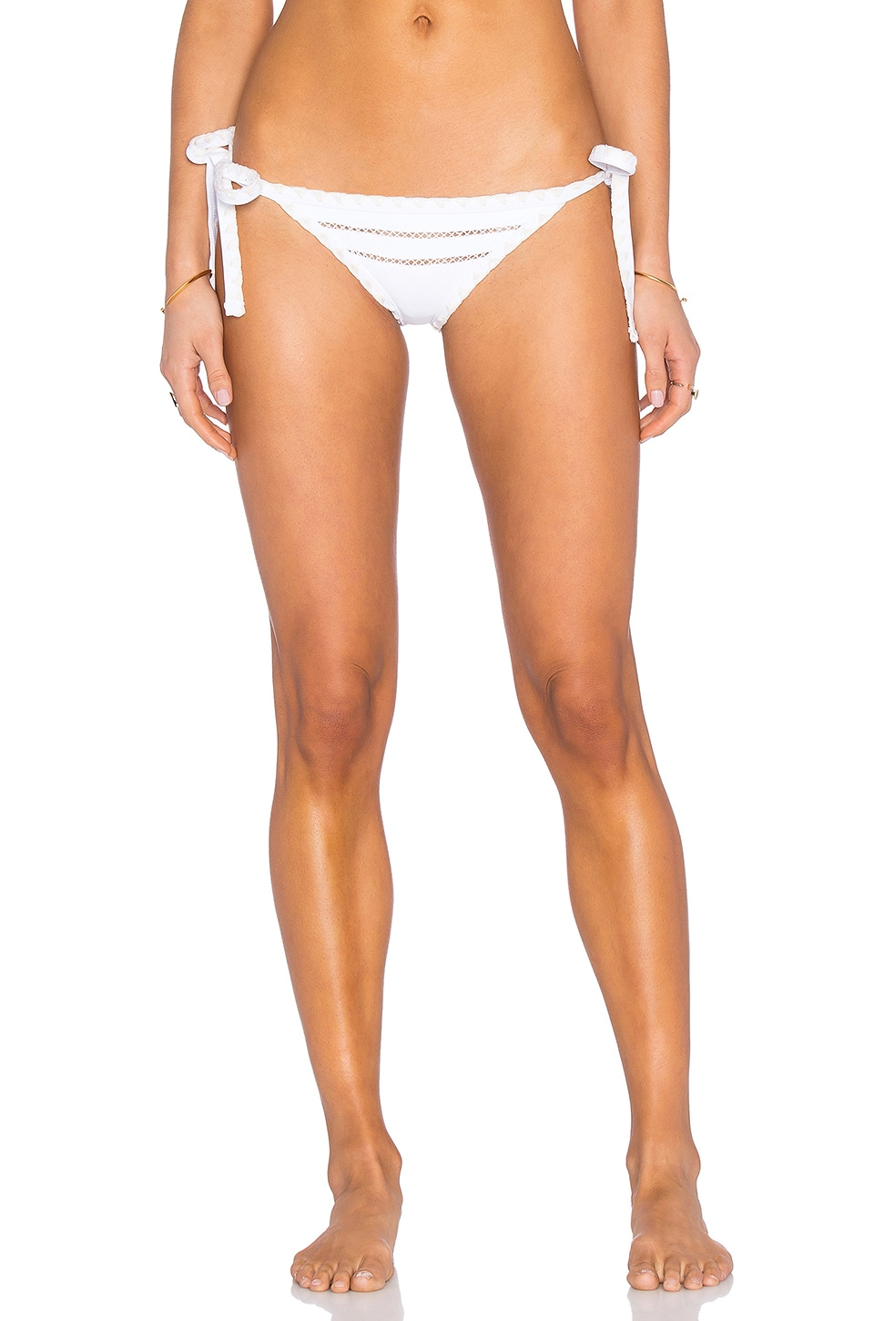 SAME Swim The Tease Tie Side Bottom in Blanc & Naturel