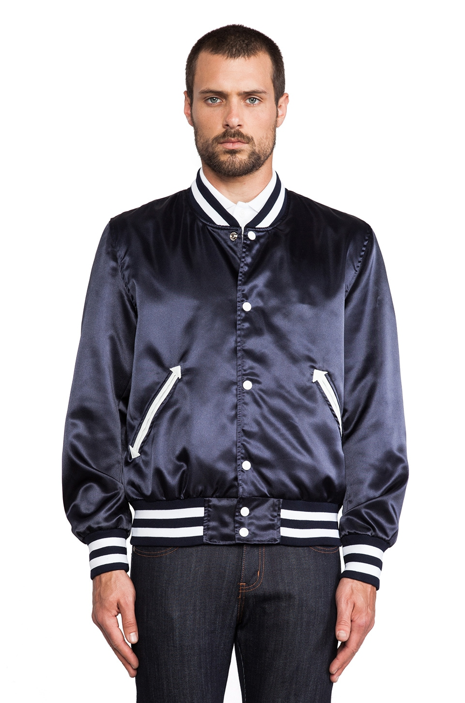 S&H Athletics Bird Varsity Jacket in Navy