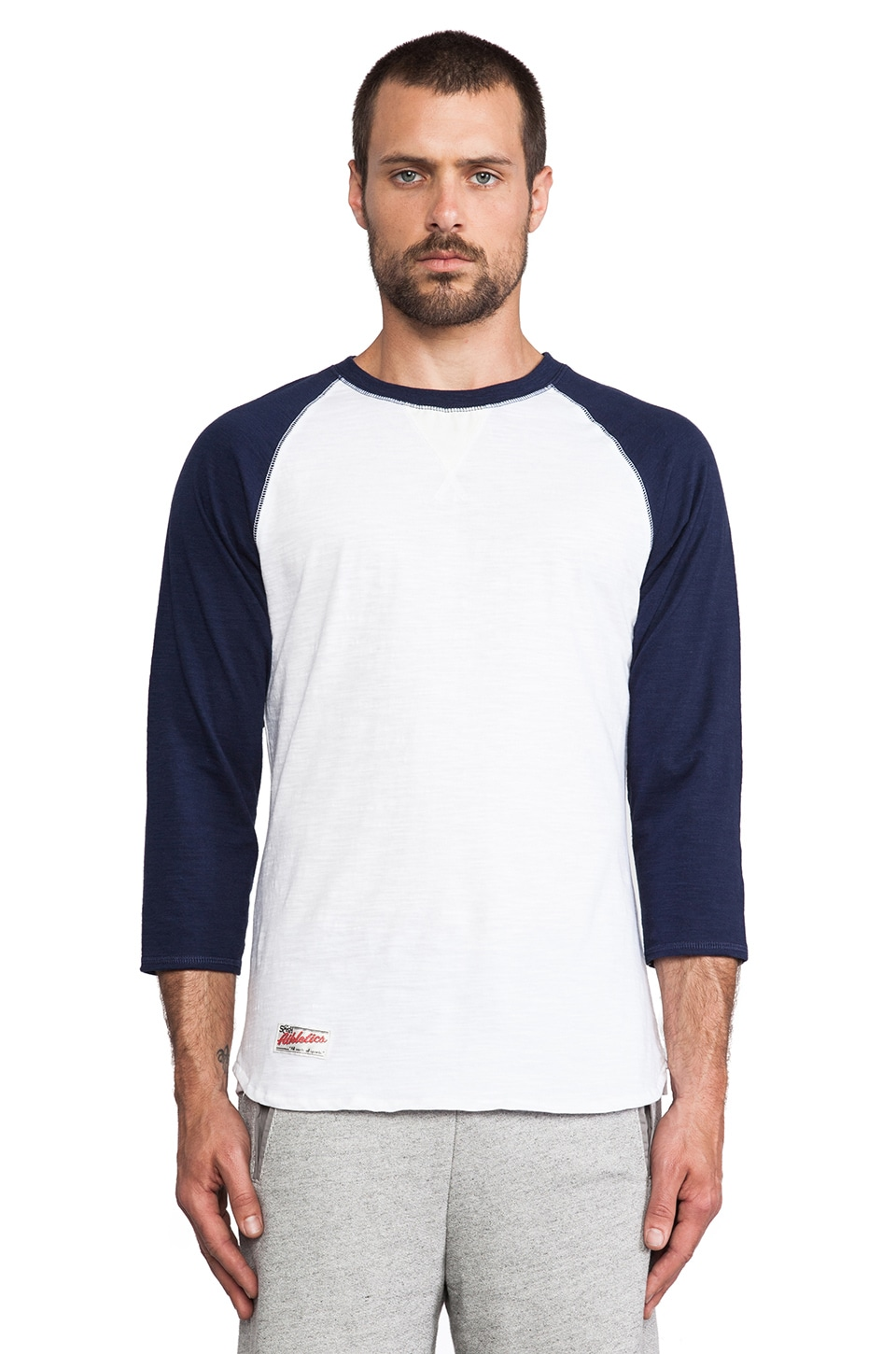 S&H Athletics Griffey Baseball Shirt in Navy & White