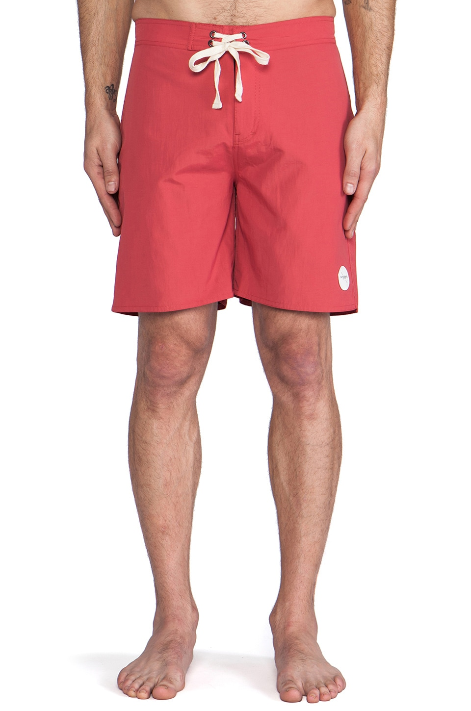 SATURDAYS NYC Colin Knee Length Boardshort in Red