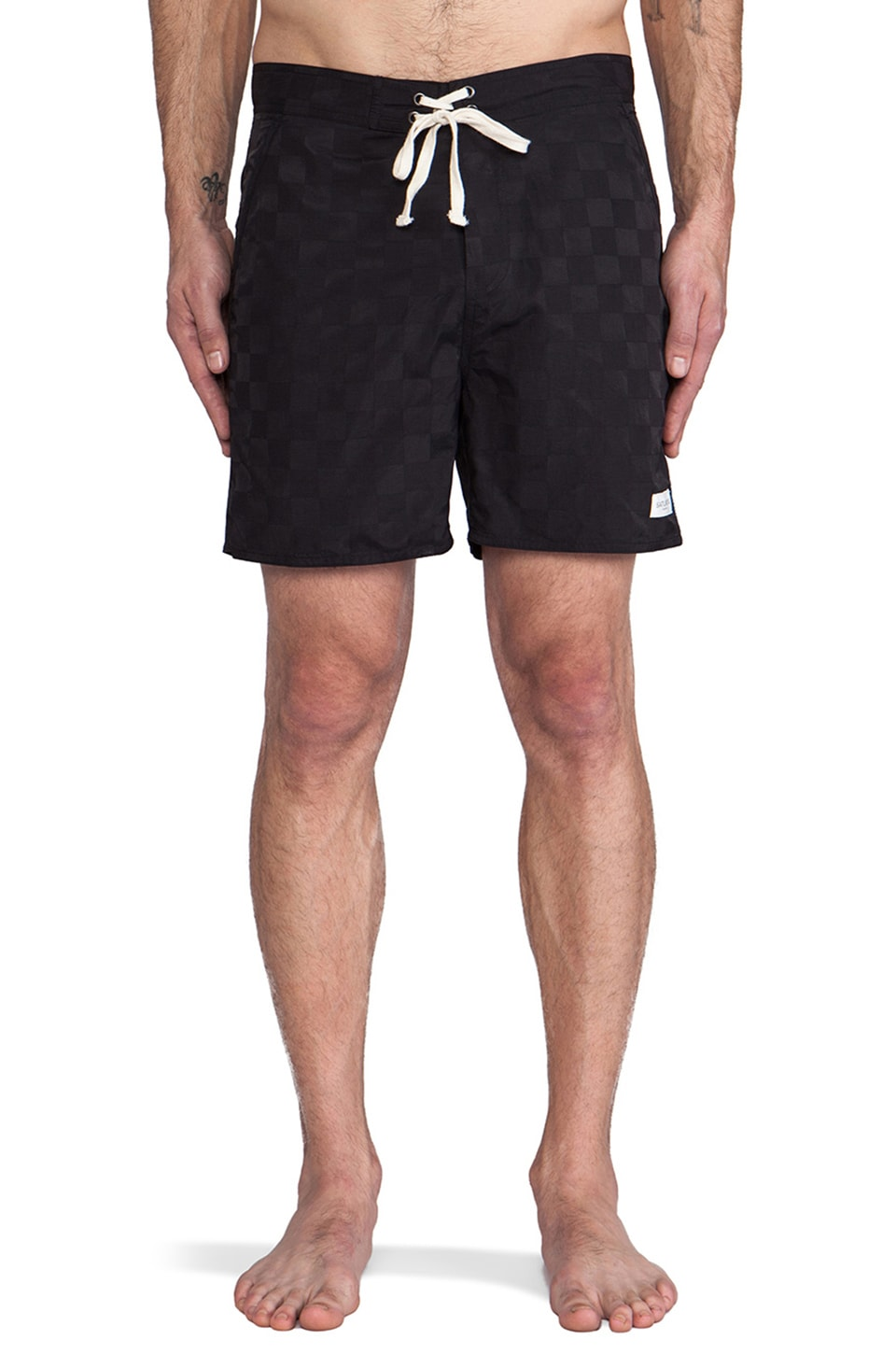 SATURDAYS NYC Curtis Thigh Length Boardshort in Black