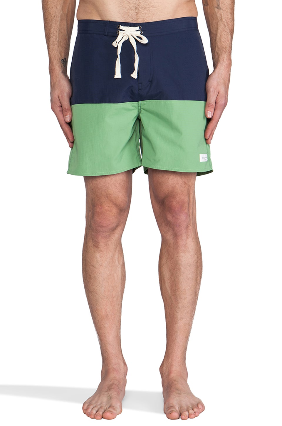 SATURDAYS NYC Ennis Thigh Length Boardshort in Navy & Fern