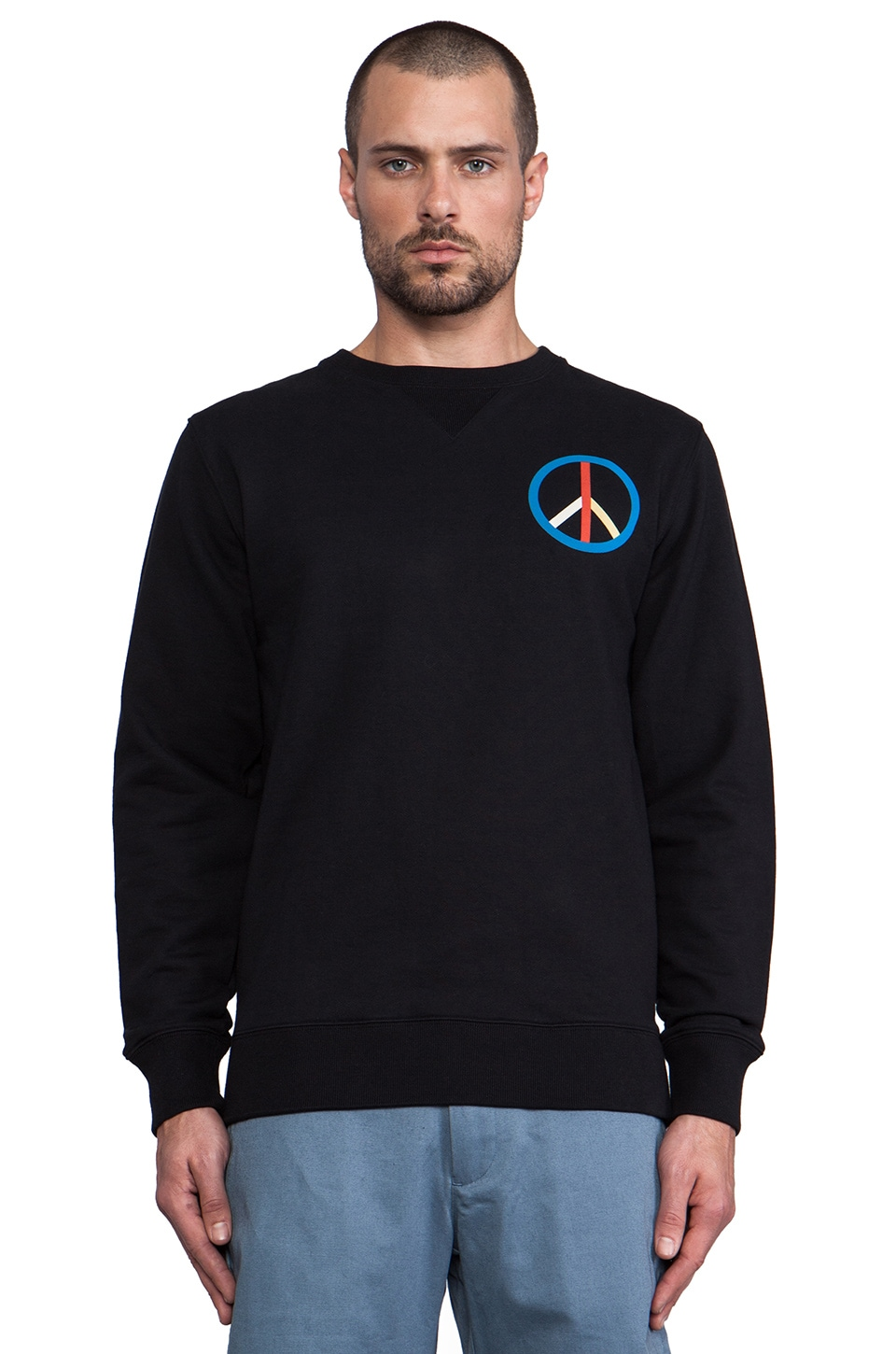 SATURDAYS NYC Bowery Peace Sweatshirt in Black