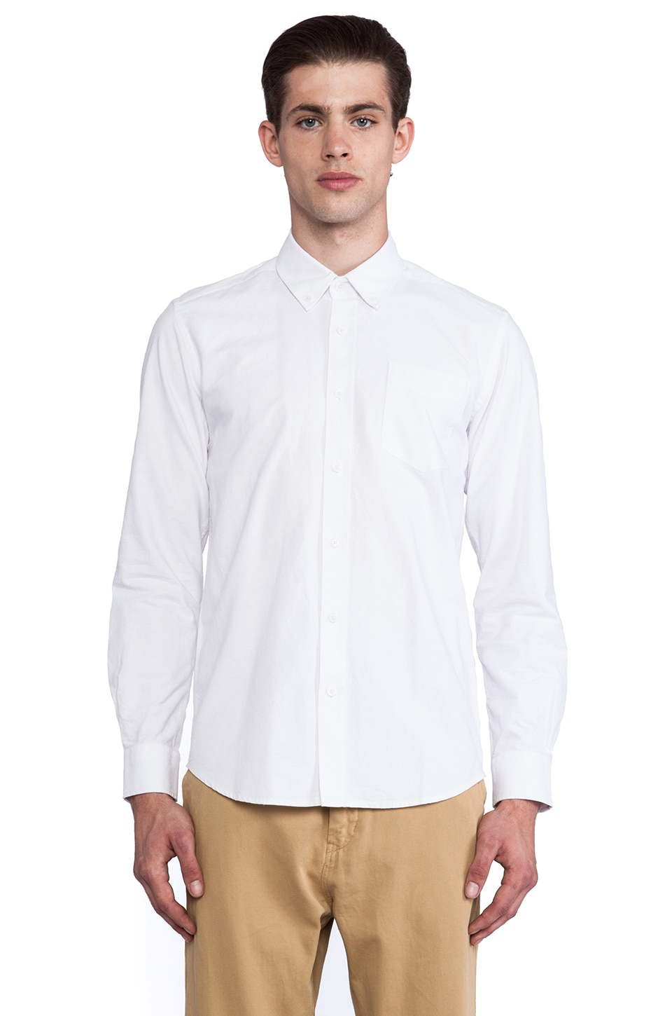 SATURDAYS NYC Crosby Solid Oxford in White