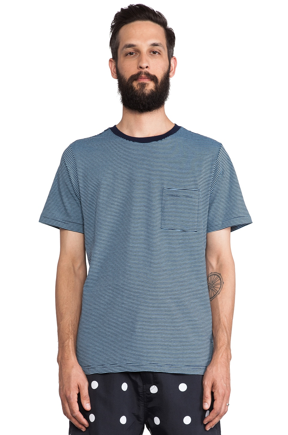 SATURDAYS NYC Randall Beach Stripe Tee in Indigo