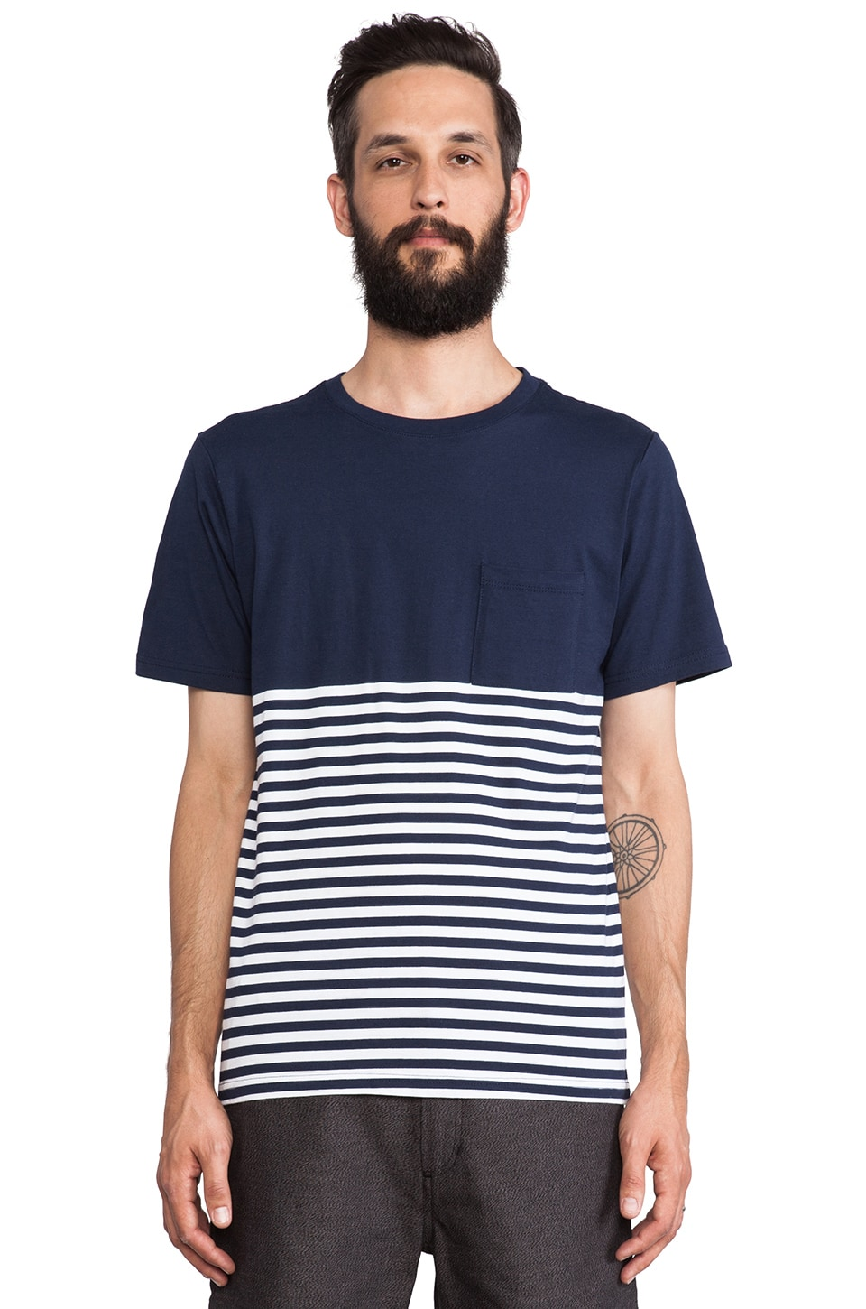 SATURDAYS NYC Randall Flag Stripe Tee in Navy