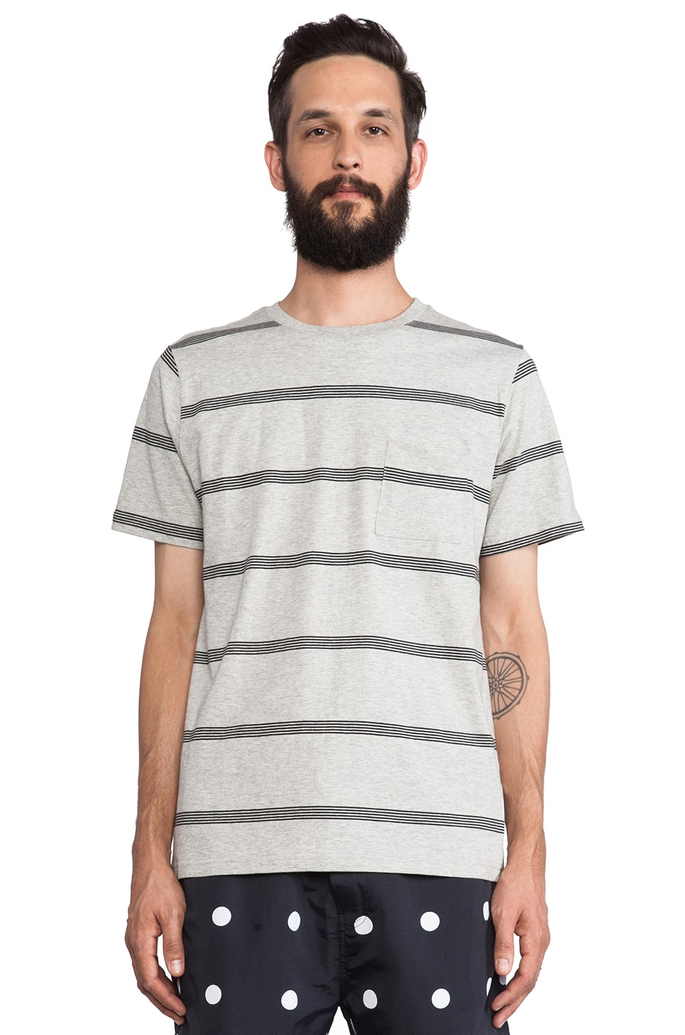 SATURDAYS NYC Randall Stacked Stripe Tee in Grey Heather