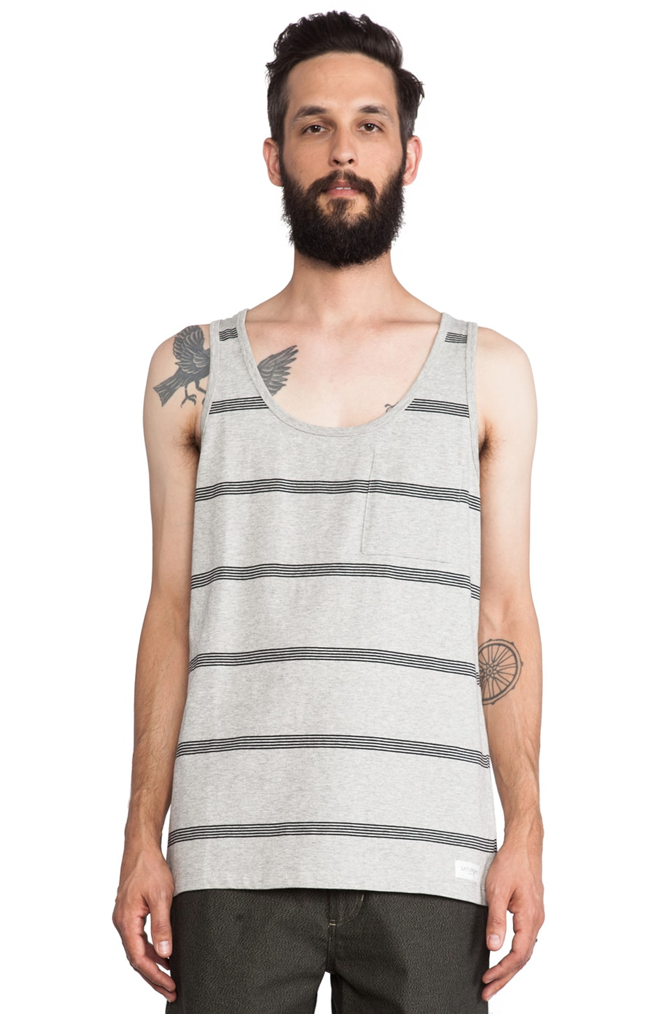 SATURDAYS NYC Rosen Stacked Stripe Tank in Grey Heather