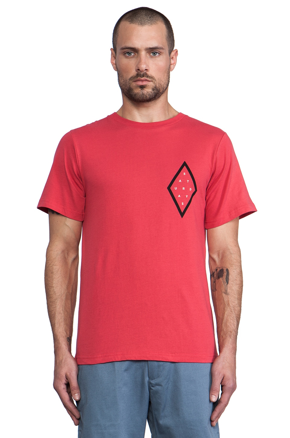 SATURDAYS NYC Diamond Chest Tee in Red