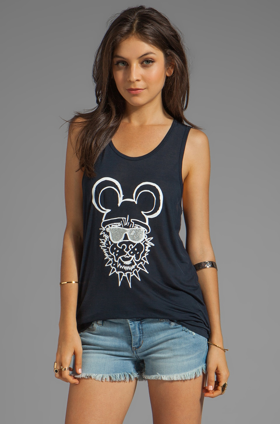 Sauce Dog Ears Tank in Black
