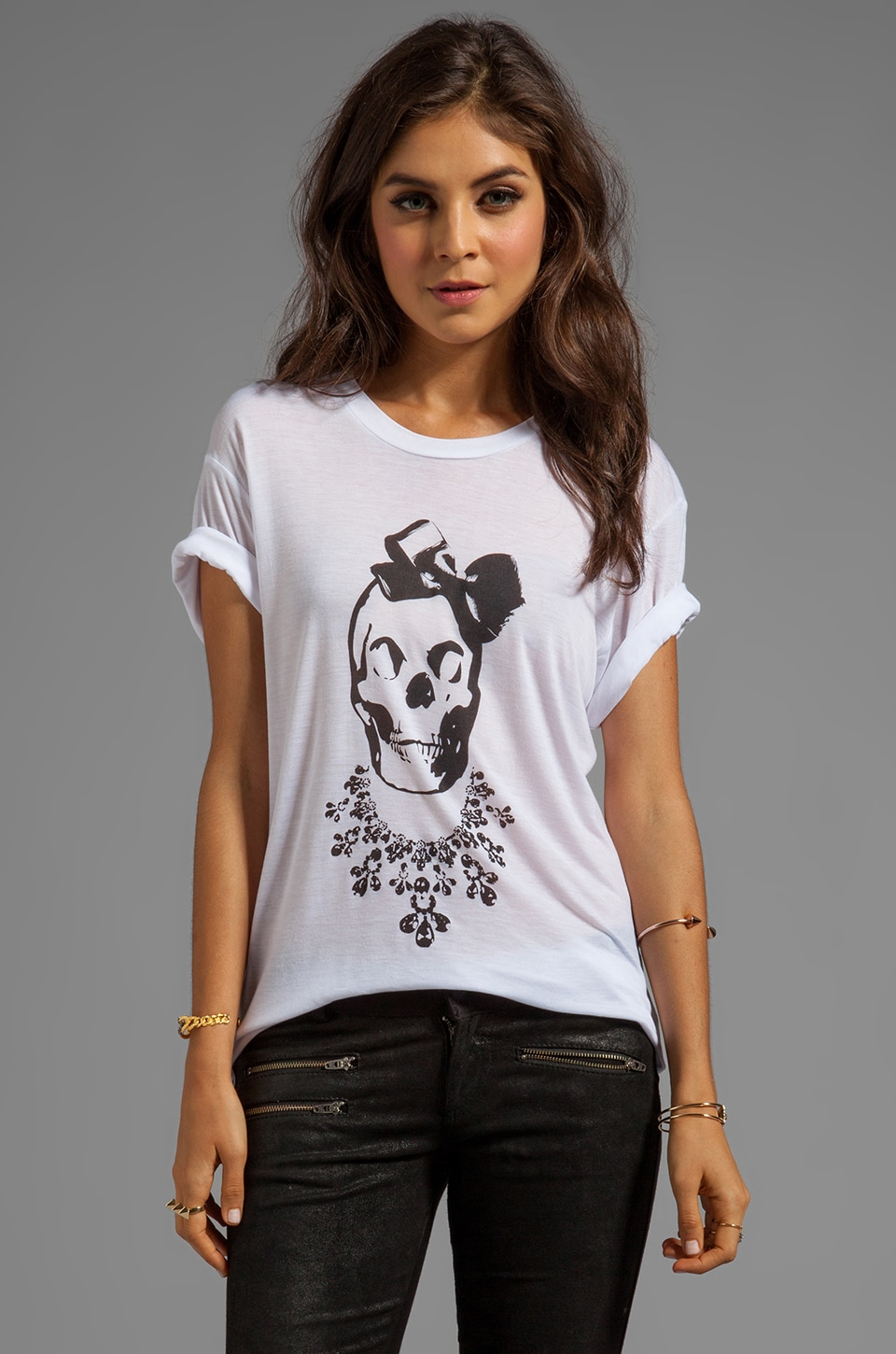Sauce Bow Skull Short Sleeve Tee in White