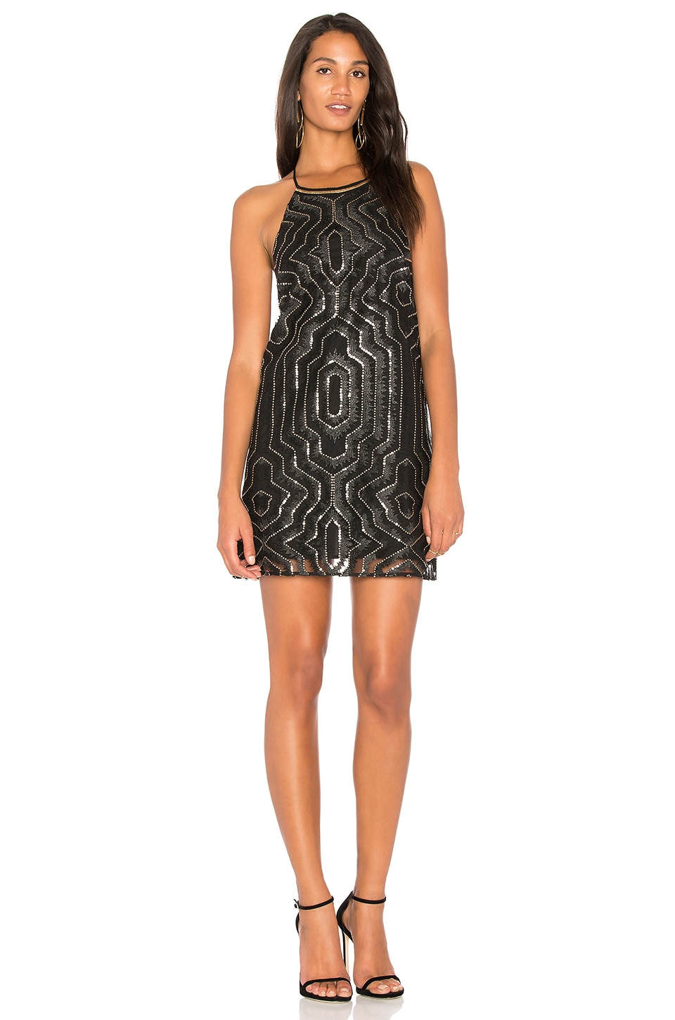 SAYLOR Cal Embellished Mini Dress in Black & Gold