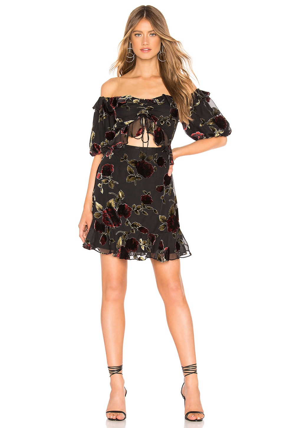 SAYLOR Devyn Dress in Black Floral